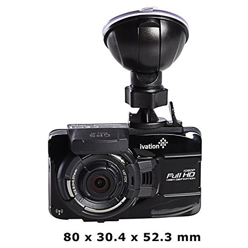Ivation 1296p HD Dash Cam Video & GPS Recorder, 155° wide angle lens, Motion Detection, G-Sensor, 6-Glass Lens, Low light WDR & HDR Dashcam