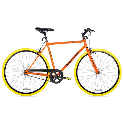 Takara Sugiyama Flat Bar Fixie Bike, Orange/Yellow,  54cm Frame