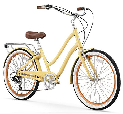 "sixthreezero 630034 EVRYjourney Women's 26"" 7-Speed Step-Through Hybrid Cruiser Bicycle, Cream, 17.5""/One Size"