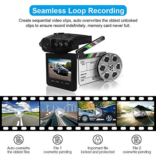 Car Dash Cam, Driving Video Recorder, MONOLED Car Video Recorder Camera Full-HD 120 Wide Angle 2.5 inch TFT LCD Screen USB Charging Vehicle Video Camera Loop Recording with Night Vision, Black