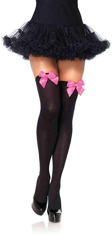 Leg Avenue Women's Opaque Thigh-High Stockings with Satin Bows