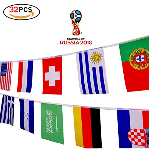 2018 2018 Russia Soccer Match 32 Teams String Flag 32 Ft/7.9x11 in/20x28 cm Decoration for Sports Club, Bar, Grand Opening String Pennants