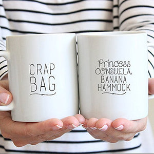 Funny Couples Mugs - Dishwasher Safe - Crap Bag Mug - Couples Coffee Mugs - Princess Consuela Mug - His and Her Mug Set - Engagement Mug Set - Couple Mug - Cofffee Mug