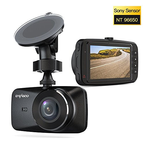 "CACAGOO Car DVR Dash Cam HD 1080p, H.264 with SONY IMX 323 Sensor Motion Detection, 2.7"" TFT LCD HD Screen, Loop Recording, Parking Monitor, Night Vision and More Black"