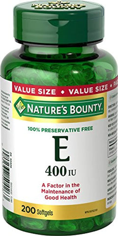 Nature's Bounty Vitamin E Pills and Supplement, Helps Maintain Health, 400iu, 200 Softgels