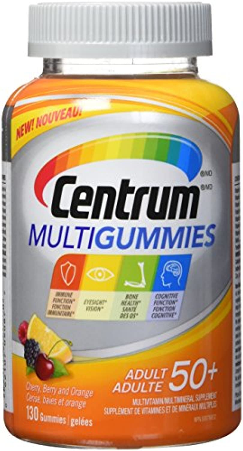 Centrum Multigummies Adult 50+ (130 Count, Cherry, Berry, Orange Flavours) Multivitamin Gummies