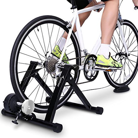 Sportneer Bike Trainer Steel Bicycle Indoor Exercise Trainer Stand Converter with Noise Reduction Wheel, Black