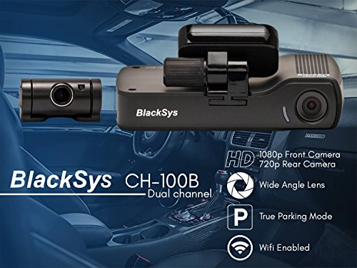 BlackSys CH-100B 2 Channel 1080P FULL HD Front and Rear Pro Wide Angle Dashboard Recorder | Dash Cam With G-Sensor + Up to 128gb Memory | Car Parking Mode | Wifi App