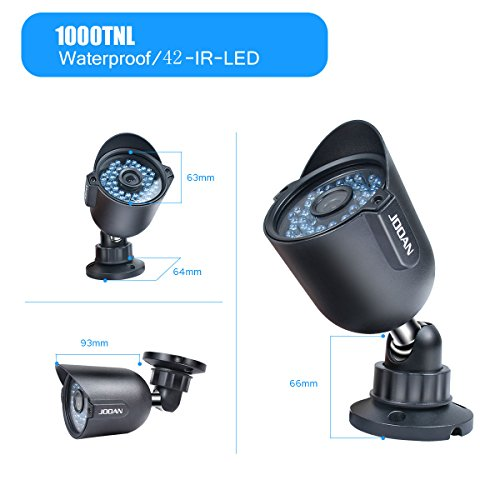 Security Camera, JOOAN 604YRA-T 1/3''CMOS 1000TVL CCTV Outdoor Waterproof Bullet Analog Surveillance Cameras 42-IR-LEDs - Black(Update Version)