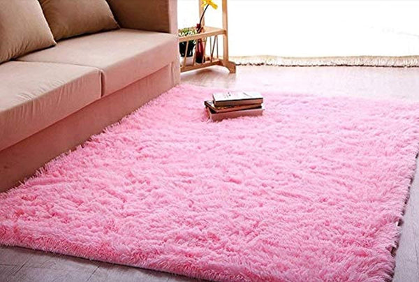 ACTCUT Super Soft Indoor Modern Shag Area Silky Smooth Rugs Fluffy Rugs Anti-Skid Shaggy Area Rug Dining Room Home Bedroom Carpet Floor Mat 5.3' x 7.3', (Pink)