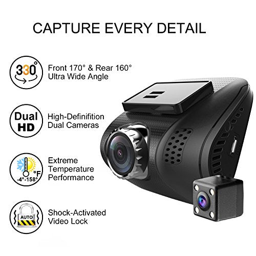 Ampulla Cruiser Dual Dash Cam, Super HD 1296P Front & 720P Rear Dash Cam 170°& 160°Ultra Wide Angle Dashboard Camera G-Sensor WDR LDWS & 32GB Card Included