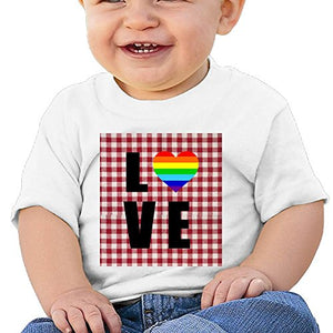 JAWANNA Rainbow Heart Gay & Lesbian Baby T-Shirts,6-24 Month Baby Round Collar Short Sleeved T-Shirt,Short Sleeve,Baby Product,Softness and Thin