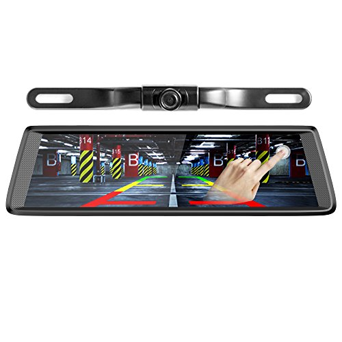 Pruveeo D700-Plus 10-Inch Touch Screen Backup Camera Dash Cam Front and Rear Dual Channel for Cars with Rear View Reversing and Monitor Kit