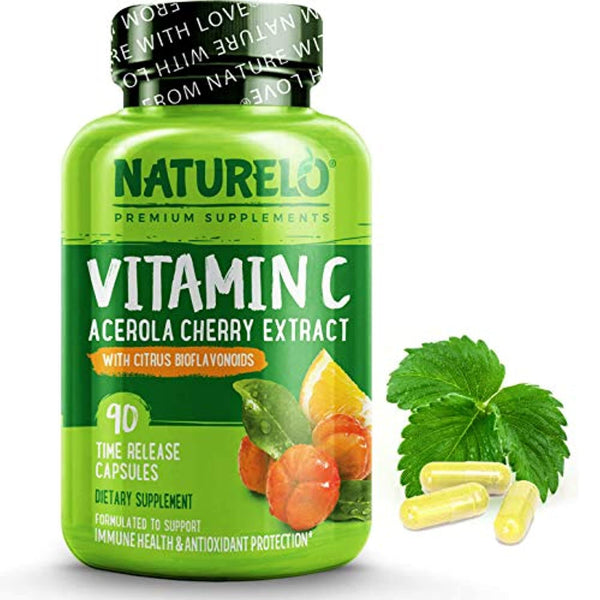 NATURELO Premium Vitamin C with Organic Acerola Cherry and Citrus Bioflavonoids - Whole Food Powder Supplement - Time Release - 500 mg - Non-GMO - Vegan - 90 Capsules