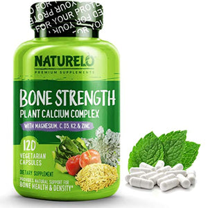 NATURELO Bone Strength - with Plant Calcium, Magnesium, Vitamins C, D3, K2 - Best Whole-Food Supplement for Bone Health - 120 Vegetarian Capsules