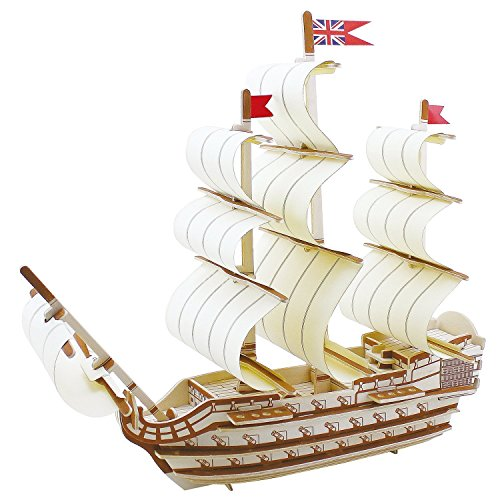 Lychee® Wooden Ancient Ship 3D PUZZLE, Wooden DIY Model Set Handcraft Birthday Christmas Gift for Kids (Zheng he)