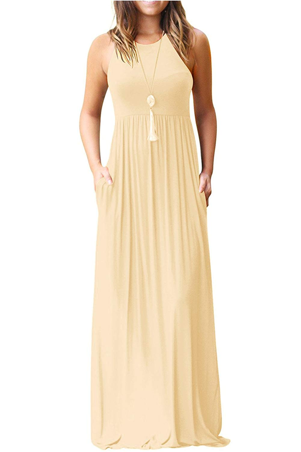 Hervive Women's Short Sleeves Racerback Loose Plain Long Maxi Dresses with Pockets