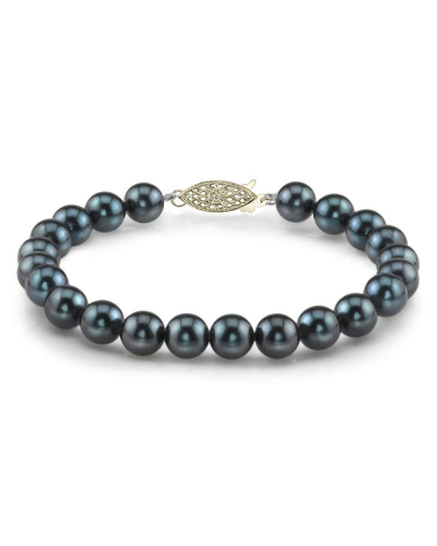 14K Gold 6.0-6.5mm Black Akoya Cultured Pearl Bracelet