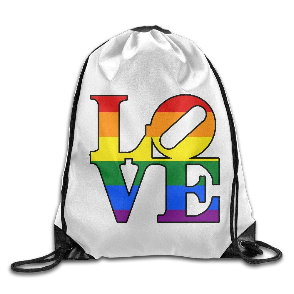 VOLTE Love Rainbow Lesbian Gay Pride LGBT Drawstring Bags Hiking White Backpack Sport Bag For Men & Women School Travel Backpack For Teens College