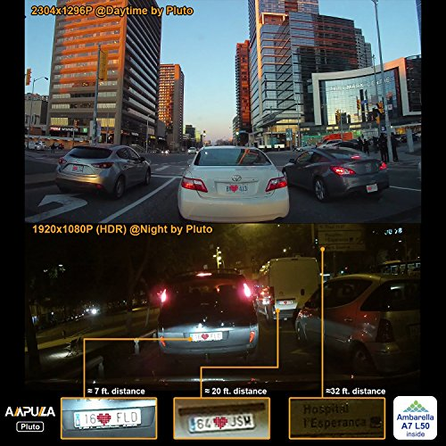 "Ampulla Pluto dash cam 2K Full HD 1296P 2560x1080 170° Wide Angle 3"" with HDR, Parking Mode, Super Night Vision, Motion Detection, G-Sensor, Loop Recording, HDR"