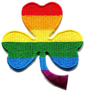 3 leaf clover three St. Patrick's Day irish shamrock gay lesbian pride rainbow LGBT embroidered applique iron-on patch new by TKPatch