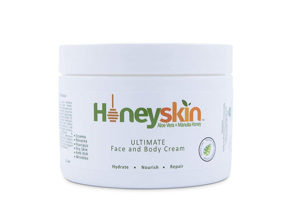 Organic Dry Skin Repair Cream (4 oz) Natural Facial Moisturizer, Rosacea, Eczema, Psoriasis, Rashes, Itchiness, Redness, Raw Superfoods: Manuka Honey, Aloe Vera, Cocoa Butter by Honeyskin Organics …