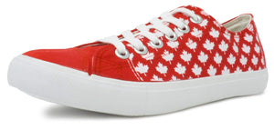 Ann Arbor T-shirt Co. Canada Sneakers | Cute Red Canadian Maple Leaf Flag Team Tennis Shoe - Women Men