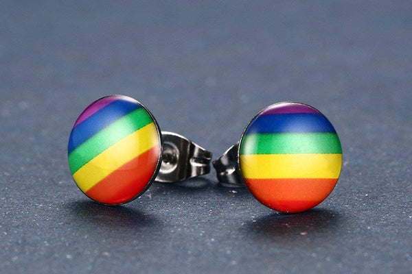 MG Gay Pride Jewelry Stainless Steel Rainbow Striped Round Dot Stud Earrings for Men Women,Gay and Lesbian LGBT Pride Earrings