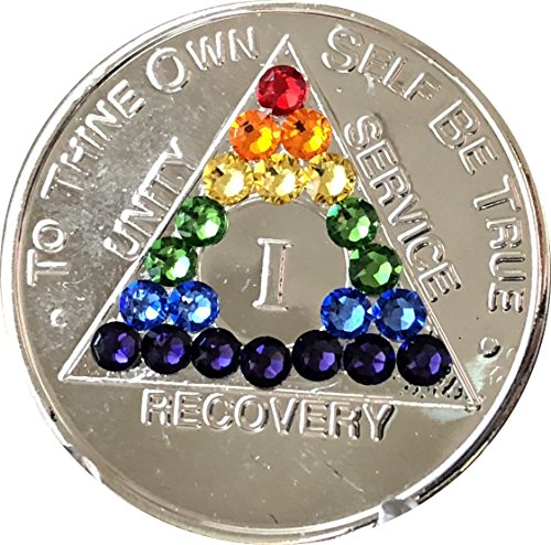 1 Year Rainbow Swarovski Crystal AA Medallion Girly Girl Nickel Plated Chip