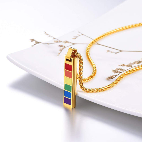 PROSTEEL Rectangular Rainbow LGBT Gay Pride Jewelry Necklace & Pendant Gift For Men/Women,Stainless Steel,22 Inches Chain