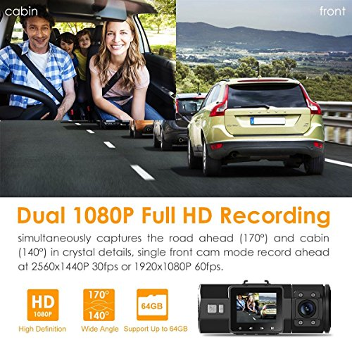 "Vantrue N2 Pro Uber Dual Dash Cam 1920x1080P Front and Rear Dash Cam (2.5K 1440P Single Front Recording) 1.5"" LCD 310° Car Dashboard Camera w/Super Night Vision, Parking Mode, Cold Resistant, Loop Recording, Sony Sensor, Optional GPS, Motion Detection"
