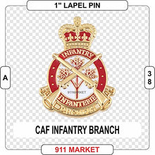 "Load image into Gallery viewer, CAF Infantry Badge Lapel Pin Canadian Armed Forces Army 1"" mini badge - A 38"