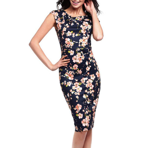 Misaky Lady Dress, Floral Pattern Business Casual Work Party Pencil Dress (S, Y_Green)