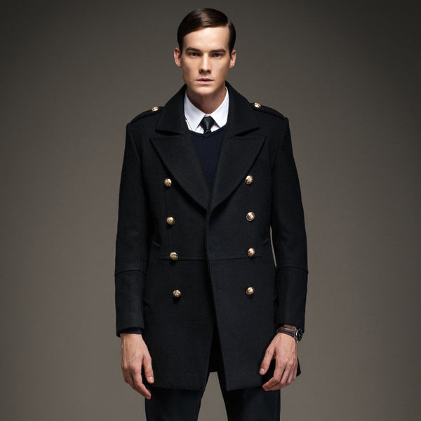 Winter Men's Coat Double Breasted Fashion Military Epaulet  Men Jacket Long Casaco Masculino