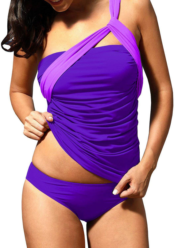 Women's One Shoulder Swimsuit Sexy Two Piece Ruched Tankini Tummy Control Bikini Set