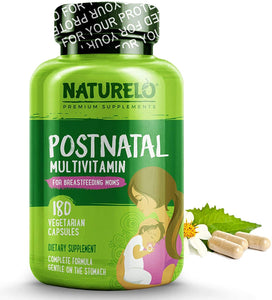 NATURELO Prenatal Multivitamin - with Natural Iron, Folate, DHA and Calcium - Vegan & Vegetarian - Non-GMO - Whole Food - Gluten Free - 180 Capsules | 2 Month Supply