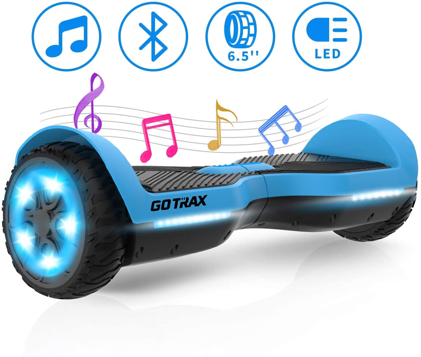 GOTRAX Hoverboard with Bluetooth Speaker, LED 6.5 inch Wheels, UL2272 Certified, Big Capacity Lithium-Ion Battery Up to Max Work 75minutes per Charge, Dual Motor up to Max 10km/h