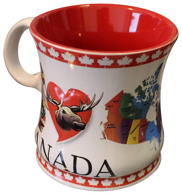 Canadian Souvenir Mug (Coffee, Cider, Hot Chocolate, Tea Cup) (Inuit Carving & Colorful Map of Canada, 1)