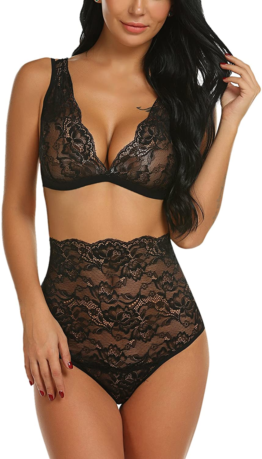 Avidlove Women Sexy Lace Lingerie High Waist Bra and Panty Set Strappy Babydoll