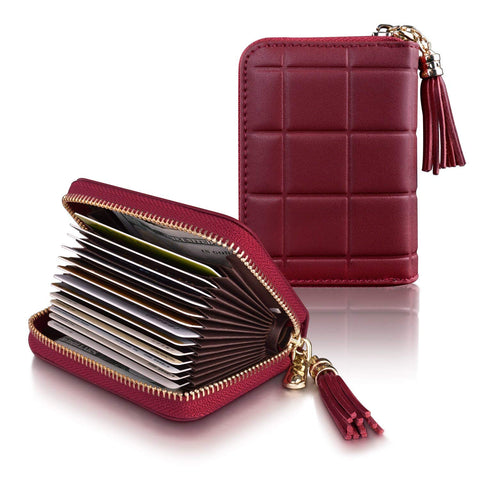 Women's RFID Blocking 15 Slots Card Holder Leather Zipper Accordion Wallet Leather Credit Card Holder for Women