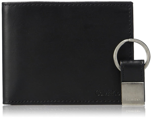Calvin Klein mens Rfid Blocking Leather Bookfold Wallet With Key Fob