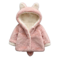 Baby Girls Winter Jackets Warm Faux Fur Fleece Coat Children Jacket Rabbit Ear Hooded Outerwear Kids Jacket for Girls Clothing