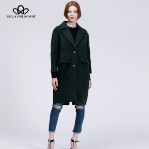 New wool long thick coat jacket Women warm winter coat turn-down coat Casual Long Outerwears for ladies