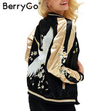 embroidery satin jacket coat Autumn winter street jacket women Casual baseball jackets reversible sukajan 2017