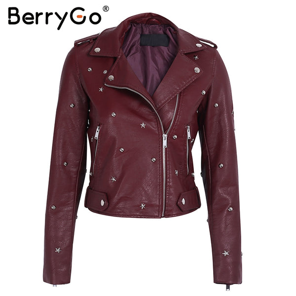 leather jacket coat female rivet outerwear coats Zipper basic jackets faux leather coat Autumn winter jacket women