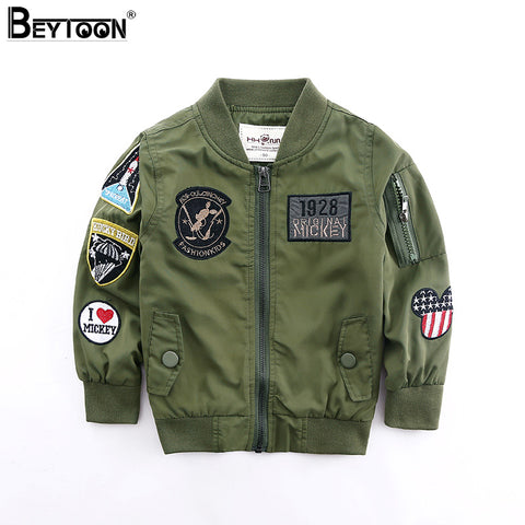 Toddler Boys Jacket Autumn Spring Army Style Kids Bomber Jacket For Boys Outerwear Tops Clothings