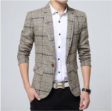 Load image into Gallery viewer, Blazer men 2017 Spring Autumn New Mens knitting Plaid Suit Fashion Single Button Casual Silm Social Business men jacket Coat