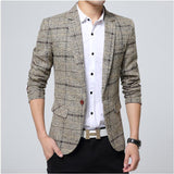Blazer men 2017 Spring Autumn New Mens knitting Plaid Suit Fashion Single Button Casual Silm Social Business men jacket Coat