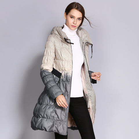 COUTUDI 2017 Winter Plus Size Down Coat Women Parkas Female Long Duck Down Padded Jacket Hit Color High Quality Women's Clothing