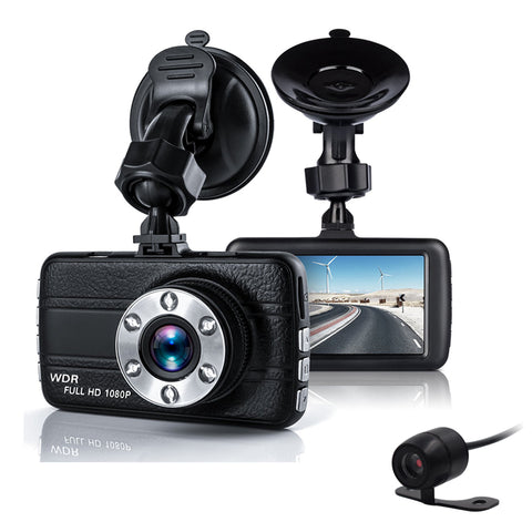 Dual Car Camera DVR 1080P Car Recorder 3 inch 150 Degree 6 Led Dashcam Two lens Dash Cam Dvrs Night Vision Auto Video Dashcam